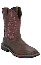 Justin® Hybred™ Men's Rugged Tan w/ Red Top Square Toe Western Work Boot