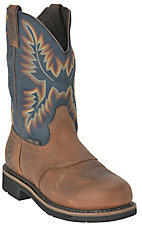 Justin Men's Copper w/ Blue Top Stampede Collection Western Steel Toe Work Boot