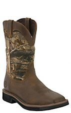 Justin Original Workboots Stampede Men's Brown w/ Camo WP Square Toe Work Boots