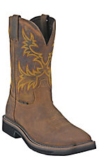 Justin Original Workboots Mens Rugged Brown Steel Square Toe Stampede Work  Boot