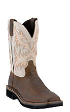 Justin® Original Workboots™ Mens Brown / Ivory Square Toe Stampede Work Western Boots