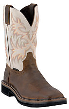 Justin® Original Workboots™ Mens Brown / Ivory Steel Square Toe Stampede Work Boots