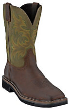 Justin® Original Workboots™ Mens Brown / Green Square Toe Stampede Work Western Boot