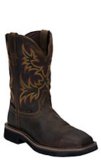 Justin Original Work Boots Stampede Mens Rugged Brown Steel Square Toe Work Boot