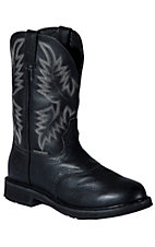 Justin Stampede Men's Oiled Black Waterproof  Pull-On Steel Toe Western Work Boots