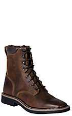 Justin Stampede Men's Rugged Tan Square Steel Toe Lacer Work Boots