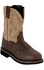 Justin Ladies Waxy Brown w/Ivory Top Stampede Collection Steel Toe Western Work Boot