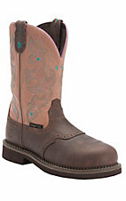 Justin Ladies Gypsy Waxy Brown w/ Rasberry Cream Saddle Vamp Composite Toe Work Boot