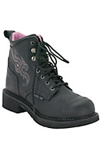 Justin Ladies Gypsy Black Pebbled Grain 6in. Lace-Up Steel Toe Work Boot