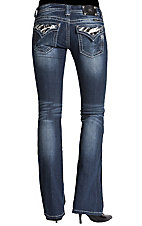 Miss Me® Ladies Stonewash Zebra w/ Stars & Crystals Flap Pocket Boot Cut Jeans