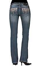 Miss Me® Ladies Cream Leaf Embroidery with Crystals & Studs Open Pocket Boot Cut Jean