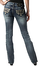 Miss Me® Womens Cream & Crystal Scroll Leather Patch Open Pocket Boot Cut Jean - Extended Sizes
