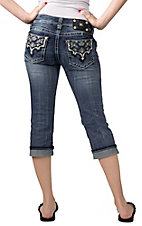 Miss Me® Womens Medium Cream & Crystal Scroll Leather Patch Open Pocket Cuffed Capri Jeans
