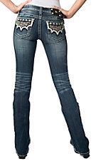 Miss Me® Womens Medium Wash White Leather w/ Embroidery & Crystals Open Pocket Boot Cut Jeans