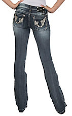 Miss Me® Womens Medium Wash White Leather Horseshoe w/ Wings and Crystals Open Pocket Boot Cut Jeans