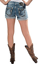 Miss Me® Women's Rodeo Wing Medium Wash with Leather Flower and Sun Embroidery Open Pockets Cuffed Shorts
