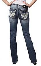 Miss Me® Womens Medium Wash White Lace Flap Pocket Boot Cut Jeans - Extended Sizes