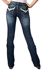Miss Me® Womens Dark Wash White Leather w/ Crystals Flap Pocket Boot Cut Jean