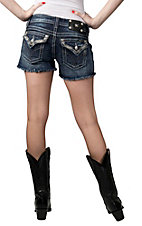 Miss Me® Womens Medium Wash Diamond Embroidery with Studs Flap Pockets Cut Off Shorts
