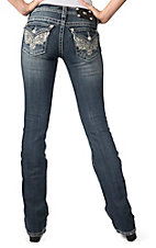 Miss Me® Womens Medium Wash Silver Embroidery with Sequins & Crystals Flap Pocket Boot Cut Jeans