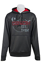 Cinch Men's Grey with Red Logo Tech Fleece Pullover Hoodie