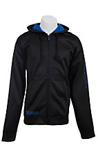 Cinch Men's Black with Blue Logos Zip Front Tech Fleece Hooded Jacket
