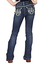 Grace in LA® Girl's Winged Cross Embroidery & Crystals Open Pocket Boot Cut Jean