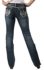 Grace in LA® Women's Winged Cross Embroidery & Crystals Flap Pocket Boot Cut Jean