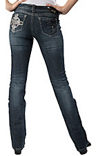 Grace in LA® Women's Fleur De Lis Cross Embroidery & Crystals Open Pocket Boot Cut Jean