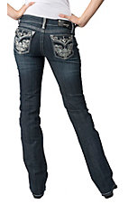 Grace in LA® Women's Flower Swirl Embroidery w/ Crystals Flap Pocket Boot Cut Jean