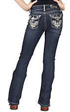 Grace in LA® Girl's Flower Swirl Embroidery w/ Crystals Flap Pocket Boot Cut Jean