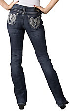 Grace in LA® Women's Winged Cross Embroidery & Crystals Open Pocket Boot Cut Jean