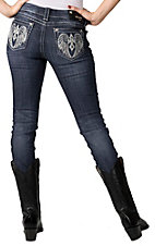 Grace in LA® Women's Winged Cross Embroidery & Crystals Open Pocket Skinny Leg Jean