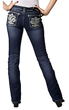 Grace in LA® Women's Fleur de Lis Embroidery w/ Crystals Flap Pocket Boot Cut Jean