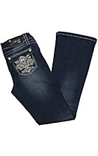Grace in LA® Girl's Fleur De Lis w/ Crystals & Studs Flap Pocket Boot Cut Jean
