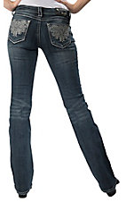 Grace in LA® Women's Silver Swirl Embroidery & Crystals Open Pocket Boot Cut Jean