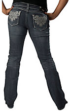 Grace in LA® Women's Swirl Embroidery w/ Crystals & Thick Pick Stitch Boot Cut Jean- Plus Sizes