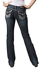 Grace in LA® Women's Swirl Embroidery w/ Crystals & Studs Flap Pocket Boot Cut Jean