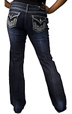 Grace in LA® Women's Swirl Embroidery w/ Crystals & Studs Flap Pocket Boot Cut Jean- Plus Sizes
