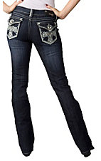 Grace in LA® Women's Heart Cross w/ Crystals Flap Pocket Boot Cut Jean