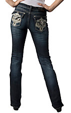 Grace in LA® Women's White and Gold Swirl Embroidery with Crystals Flap Pocket Boot Cut Jean