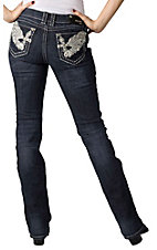 Grace in LA® Women's Large Winged Cross w/ Crystals Open Pocket Boot Cut Jean