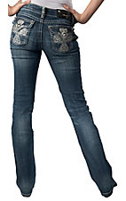 Grace in LA® Women's Large White Embroidered Cross with Studs & Crystals Flap Pocket Boot Cut Jean