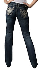 Grace in LA® Women's White Cross with Wings with Studs and Crystals Open Pocket Boot Cut Jean