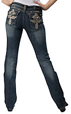 Grace in LA® Women's Dark Denim w/ Gold Winged Cross & Crystals Flap Pocket Boot Cut Jean