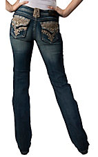 Grace in LA® Women's Gold Lace and Crystals Flap Pocket Boot Cut Jean