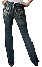 Grace in LA® Women's White with Black Lace Cross and Crystals Flap Pocket Boot Cut Jean