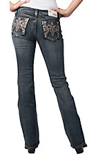 Grace in LA® Ladies Leopard w/ Embroidery & Crystals Boot Cut Jean