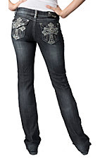 Grace in LA® Women's Embroidered Cross w/ Scattered Crystals Flap Pocket Boot Cut Jean