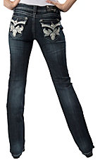 Grace in LA® Women's Dark White Leather w/ Embroidery & Crystals Flap Pocket Boot Cut Jean